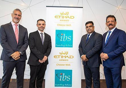 Mike Papamichael, Etihad Airways' VP T&I, Technology and Innovation, John Wright, Etihad Airways' VP Global Airport and Network Operations, IBS' Mathew M Baby, SVP & Head of Airline Operations Solutions and IBS' V K Mathews, Executive Chairman, mark the new landmark partnership.